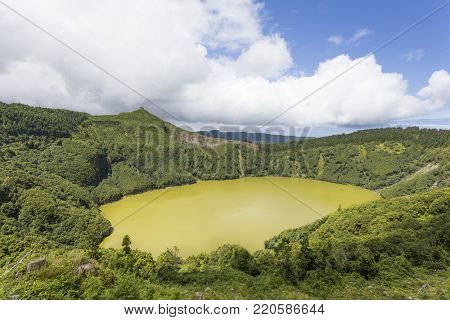 Landscape view over Lake of Santiago in Sao Miguel Island, Azores, Portugal