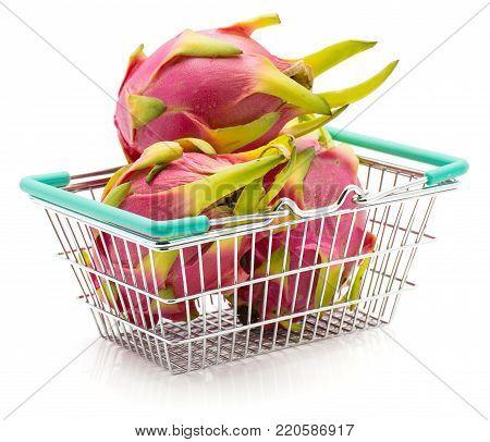 Dragon fruit (Pitaya, Pitahaya) in a shopping basket isolated on white background