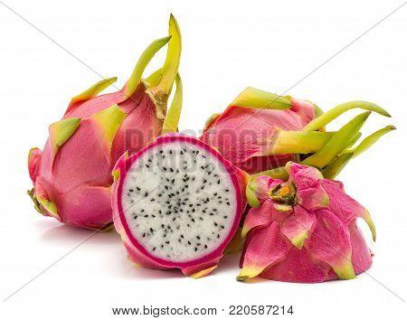 Dragon fruit (Pitaya, Pitahaya) isolated on white background two whole one half