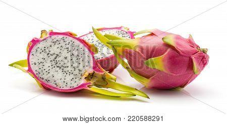 Dragon fruit (Pitaya, Pitahaya) isolated on white background one whole two halves