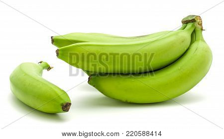 Plantain cluster and one whole separated green banana isolated on white background poster
