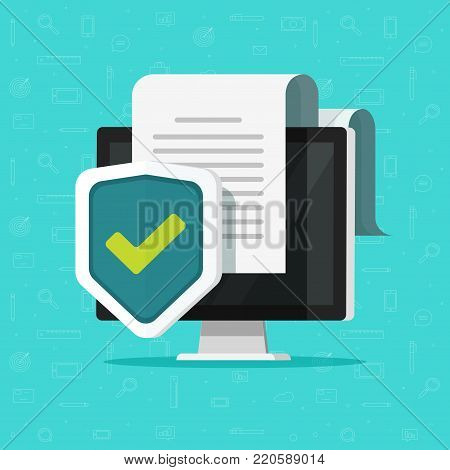 Computer protection vector illustration, flat cartoon desktop pc with document protected via shield icon, confidential information or privacy security documentation access idea, secure data or guard