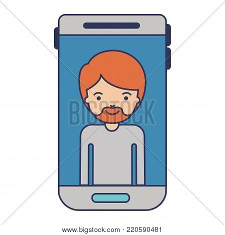 smartphone man profile picture with short hair and van dyke beard in colorful silhouette vector illustration