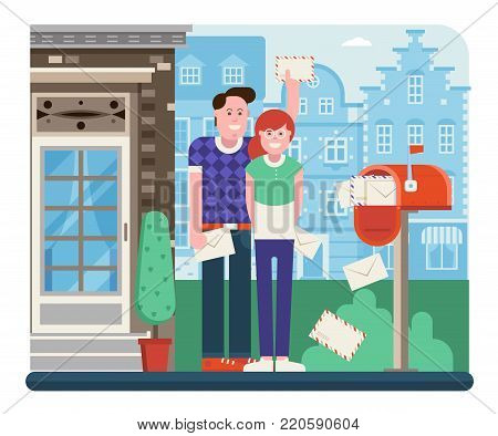 Young couple getting mail from mailbox full of envelopes. Man and woman receiving letters near opened postbox. City postal service and check correspondence concept illustration.