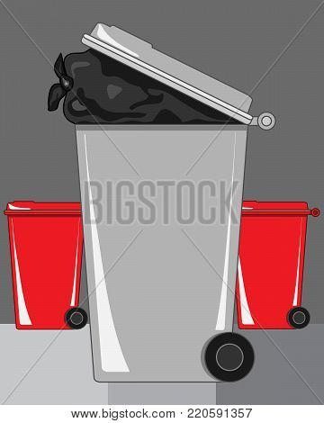 an illustration of a gray refuse bin with a bag of rubbish showing and red recycling bins on a gray background