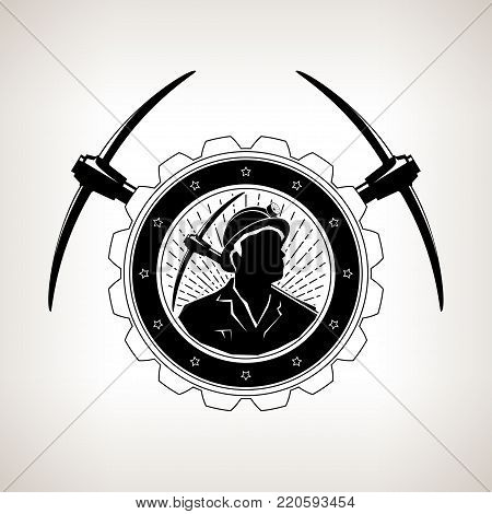 Vintage Emblem of the Mining Industry, Miner Holding a Pickax in a Gear with Two Crossed Pickaxes , Label and Badge Mine Shaft on a Light Background,  Illustration