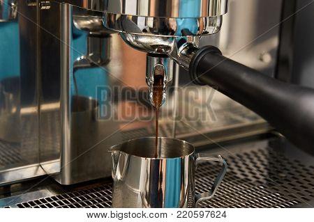 Coffee machine. Preparation of invigorating drink. Espresso
