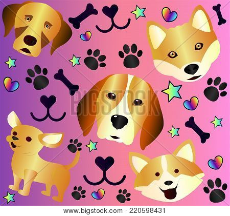 Bright cartoon poster with cute dogs, close-up. Dog's goodies, fairytale style, dog tracks from the paws.