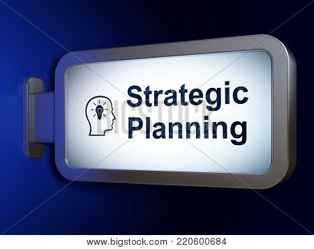 Business concept: Strategic Planning and Head With Lightbulb on advertising billboard background, 3D rendering