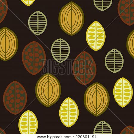 Seamless floral pattern with primitive leaves. Seamless floral pattern with primitive leaves. Tribal ethnic background, green tones on brown background. Textile design.