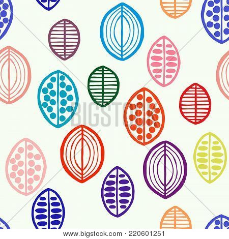 Seamless floral pattern with primitive leaves. Tribal ethnic background, tropical tones. Textile design.