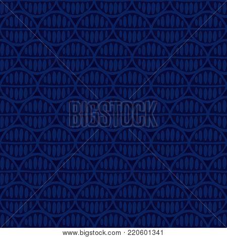 Seamless ethnic geometric pattern. Tribal simplistic background with primitive leaves, indigo tones. Textile design.