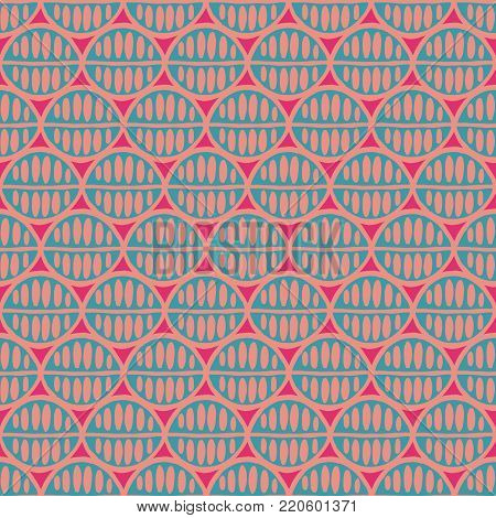 Seamless floral pattern with primitive leaves. Tribal ethnic background, simplistic geometry, mint and pink. Textile design.