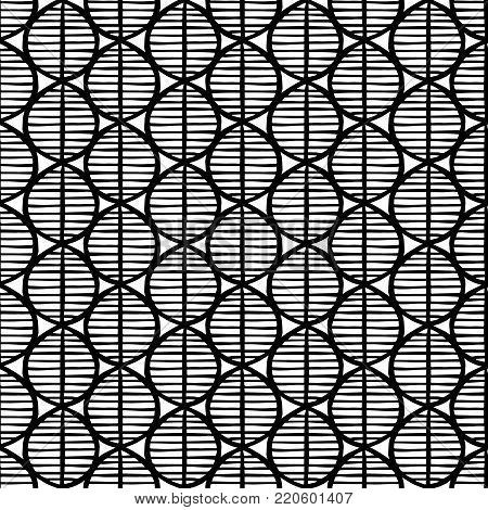 Primitive seamless floral pattern with leaves. Tribal ethnic background, simplistic geometry, black and white. Textile design.