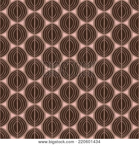 Primitive leaves, seamless floral pattern. Tribal ethnic background, simplistic geometry, pink and brown. Textile design.