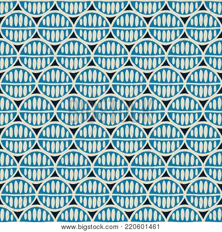Seamless floral pattern with primitive leaves. Tribal ethnic background, simplistic geometry, ocean blue and beige sand. Textile design.