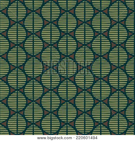 Primitive seamless floral pattern with leaves. Tribal ethnic background, simplistic geometry, emerald and brown. Textile design.
