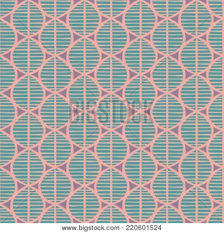 Primitive seamless floral pattern with leaves. Tribal ethnic background, simplistic geometry, soft pastel tones. Textile design.