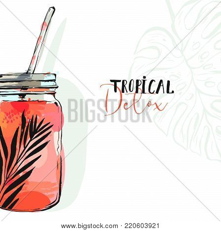 Hand drawn vector abstract artistic cooking illustration of strawberry tropical lemonade shake drink in glass jar isolated on white background.Diet detox concept