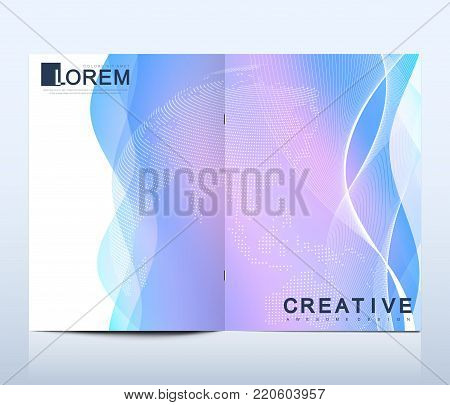 Modern vector template for brochure Leaflet, flyer advert cover catalog magazine or annual report. Business, science design. Scientific cybernetic dotted world map. Lines plexus. Card surface