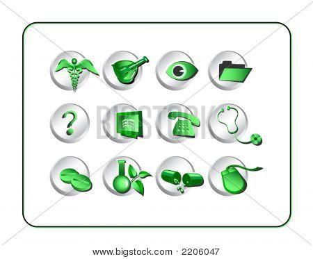 Medical & Pharmacy Icon Set - Green-Silver