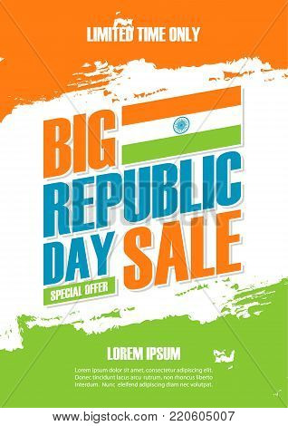 India Republic Day Big Sale poster. Special offer banner in indian national flag colors brush strokes for business, promotion and advertising. Vector illustration.