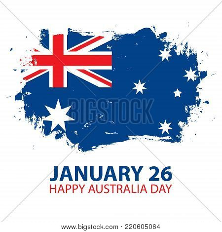 Happy Australia Day, january 26 greeting card with brush stroke in colors of the australian national flag. Vector Illustration.