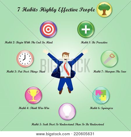 Vector Illustration A Jumping Businessman Is Surrounded By Chart Of 7 Habits Of Highly Effective People With 8 Icons Meant For Success, Goal Attainment, Ethical Character, Paradigm, Self Improvement.