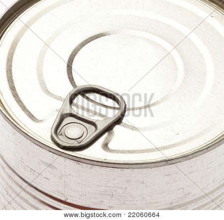 aluminum tin can, ring pull extreme closeup