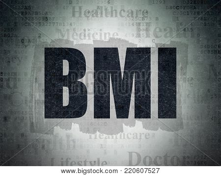 Medicine concept: Painted black text BMI on Digital Data Paper background with   Tag Cloud
