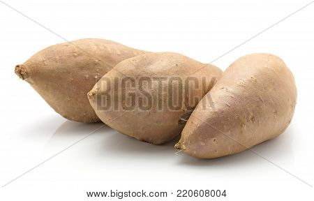 Three sweet potato in row isolated on white background