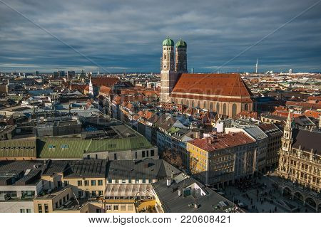 MUNICH, GERMANY - JANUARY 1, 2018: Aerial panoramic view of Marienplatz town hall rathaus and the famous Frauenkirche cathedral in Munich, Germany