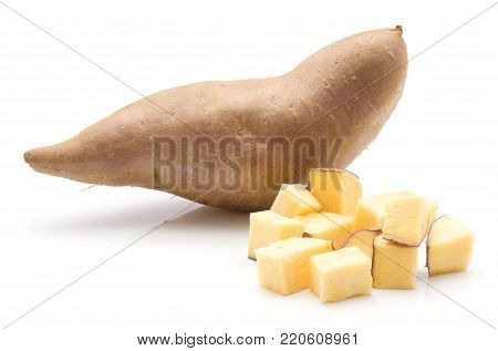 Sweet potato isolated on white background one whole and chopped pieces