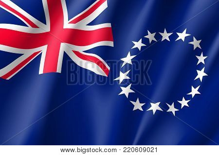 Cook Islands realistic flag. Patriotic symbol in official country colors. Illustration of Oceania state flag. Vector icon