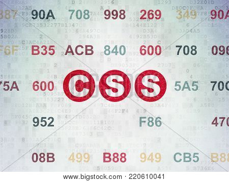 Software concept: Painted red text Css on Digital Data Paper background with Hexadecimal Code