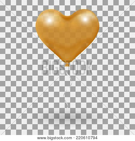 3d Realistic helium heart gold Balloon. Holiday illustration of flying glossy balloon. Isolated on transparent Background. Vector Illustration Eps10