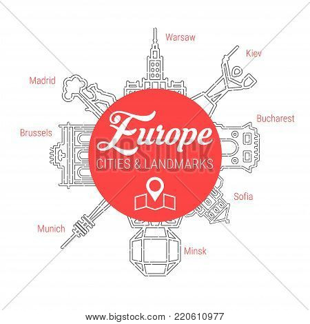 Famous European Cities - Landmarks - Places of Interest - Attractions - Sights - Lions. Line Vector Icon Set. Travel and Tourism Background.