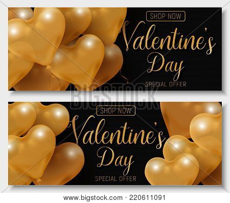 Valentine s day big sale offer, modern fashion horizontal web banner template. Gold 3d glossy heart balloon with text. Valentines Heart sale tags. Shop market poster design. Vector