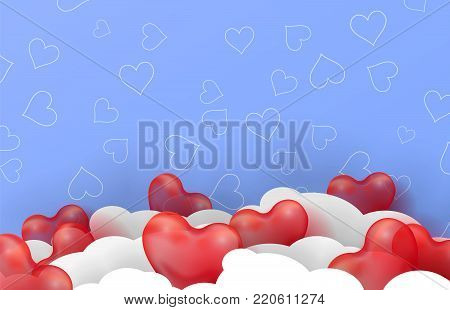 3d paper cut illustration of 3d glossy red balloon hearts on blue background with clouds. Vector colorful poster or banner template. Eps10.