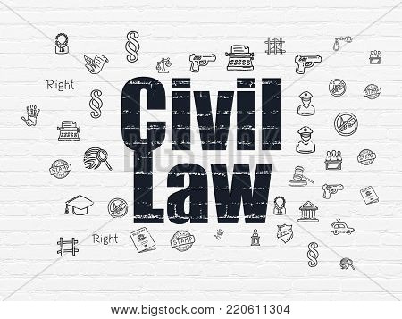 Law concept: Painted black text Civil Law on White Brick wall background with  Hand Drawn Law Icons