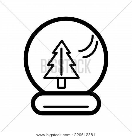 New Year's ball with a christmas tree inside. Vector icon. Linear magic ball isolated. Outline snow globe on white background