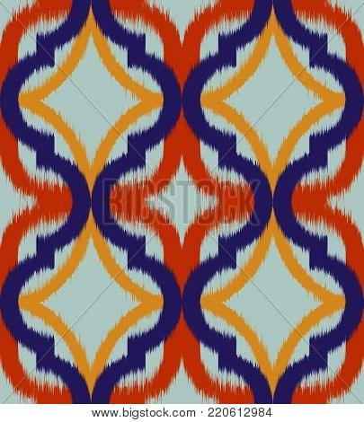 Seamless ogee ikat, vector ethnic background, traditional eastern pattern in inky blue and orange tones.
