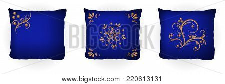 Set of throw pillow isolated for home interior design. Colorful blue pillows decorated with golden floral pattern embroidery, classic vintage Victorian style. Vector illustration