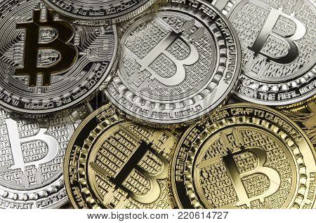 Many Bitcoin coins with virtual currency symbol
