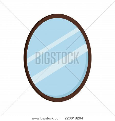 Oval mirror icon. Mirror cartoon illustration. Vector stock.