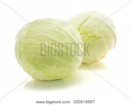 White cabbage isolated on white background two heads