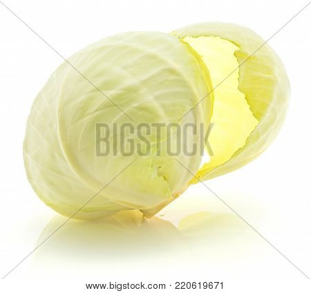 One white cabbage with separating leaf isolated on white background