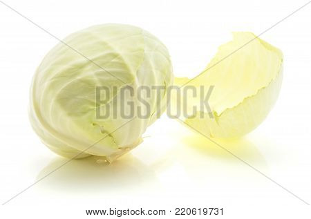 White cabbage isolated on white background one whole head with separated leaf