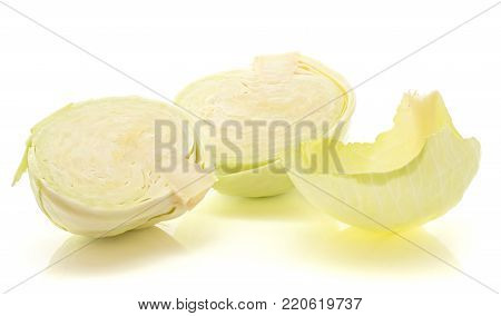 Sliced white cabbage with separated leaf isolated on white background two halves