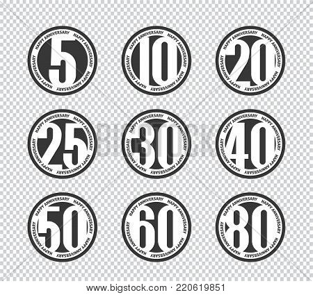 Vector set of happy anniversary emblems. 5th, 10th, 20th, 25th, 30th, 40th, 50th, 60th, 80th anniversary logo's collection.